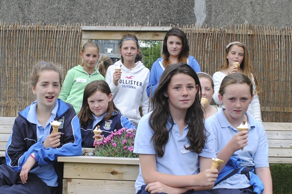 6th class girls relaxing in their space