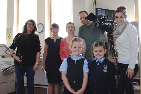 R.T.E. crew, Mrs Kelly, Ms Riordan and our junior presenters 26/06/13.