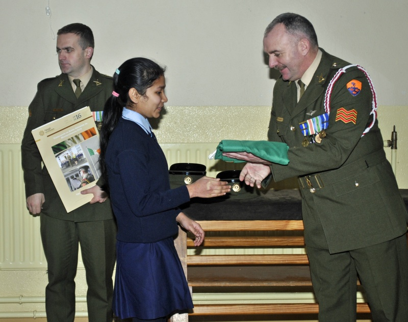 Accepting our Nation flag on behalf of the school