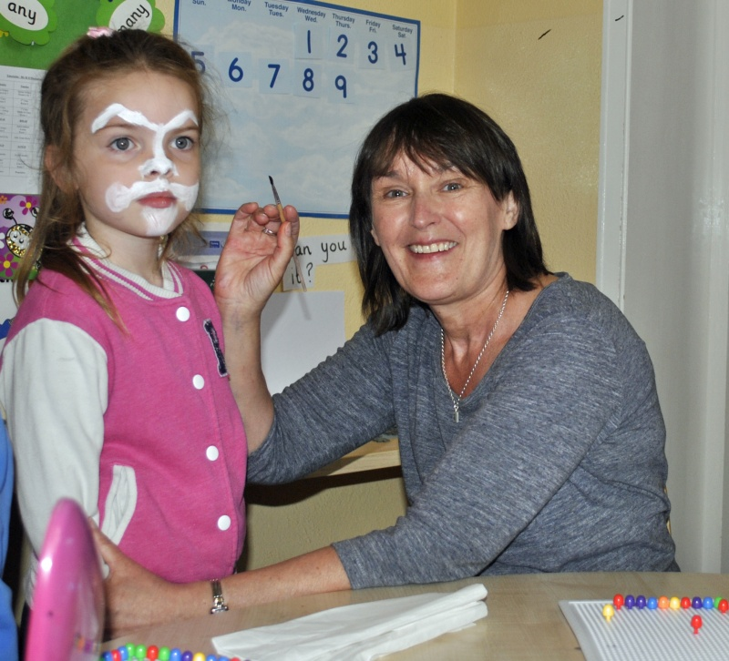 Face painting with Mrs Kelly