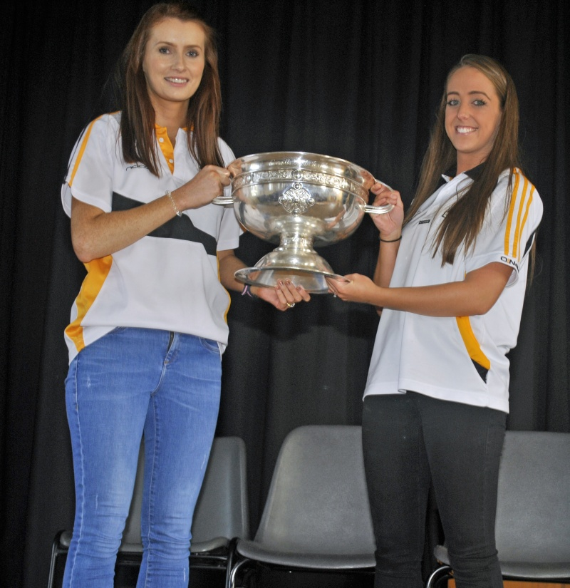 Ms Woodcock and Ms Hennessy with The O'Duffy Cup