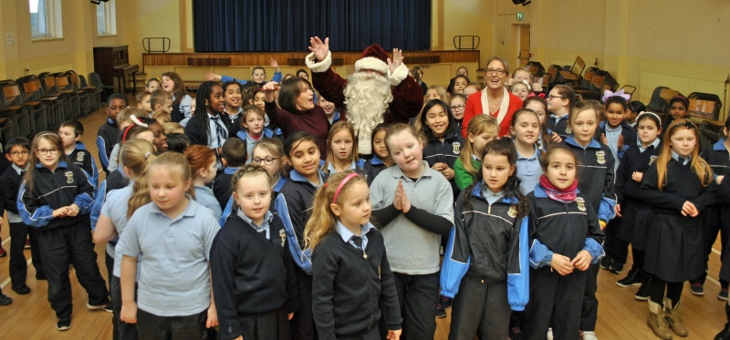 Santa was welcomed in the hall by Second and Third classes. Three Cheers for Santa!